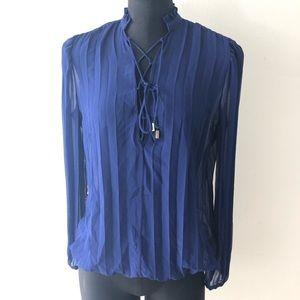 Moda International Small Blue Cobalt Pleat Blouse